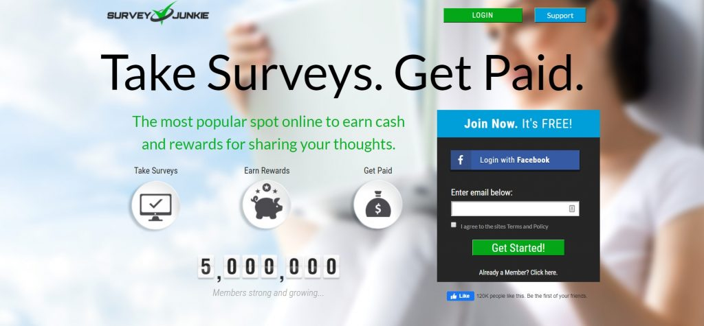 Answer surveys and earn cash with survey junkie